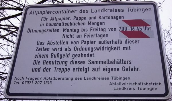 Altpapier Container Landkreis Tubingen